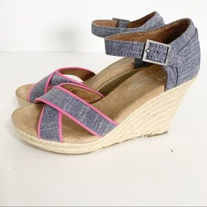 Toms wedge sandals pink and denim